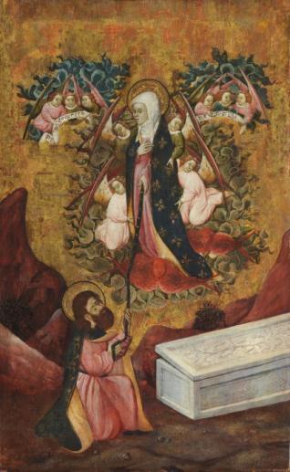 Santo Tomás recibe el cinturón de la Santísima Virgen
