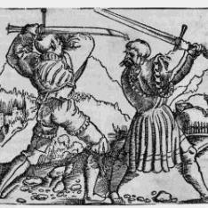 Dos caballeros peleando: Quinto mandamiento