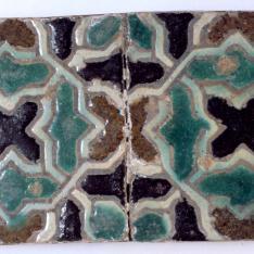 Paño de dos azulejos de cuerda seca