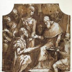 Dignatario arrodillado ante el Papa, recibiendo un collar y otras condecoraciones [El pintor, arquitecto y escritor Giorgio Vasari, recibiendo honores del papa Pío V (¿?)]