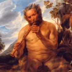 El dios Pan tocando la flauta (fragmento)