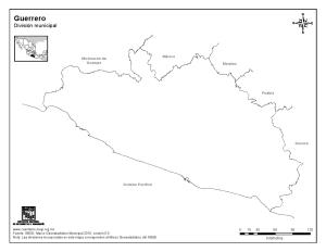 Mapa mudo de Guerrero. INEGI de México