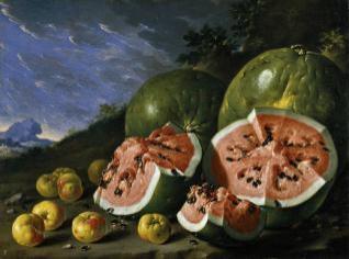 Bodegón con sandías y manzanas en un paisaje