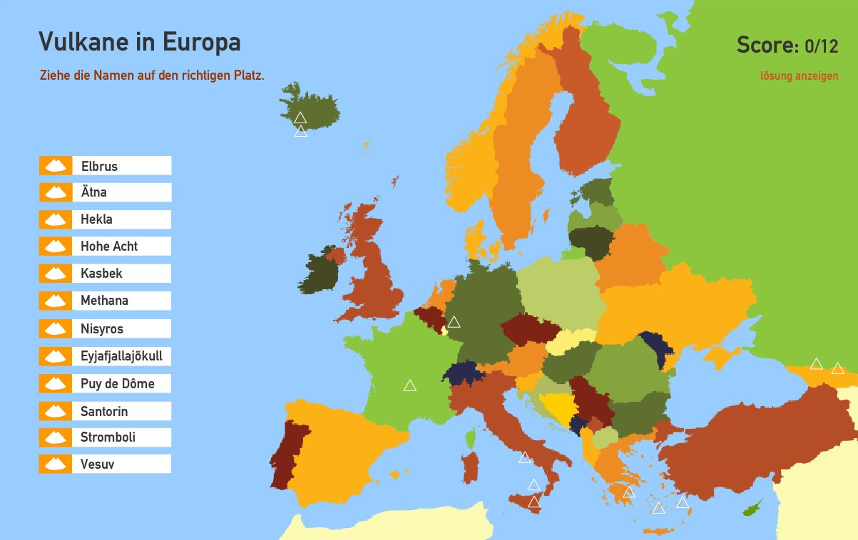 Vulkane in Europa. Toporopa