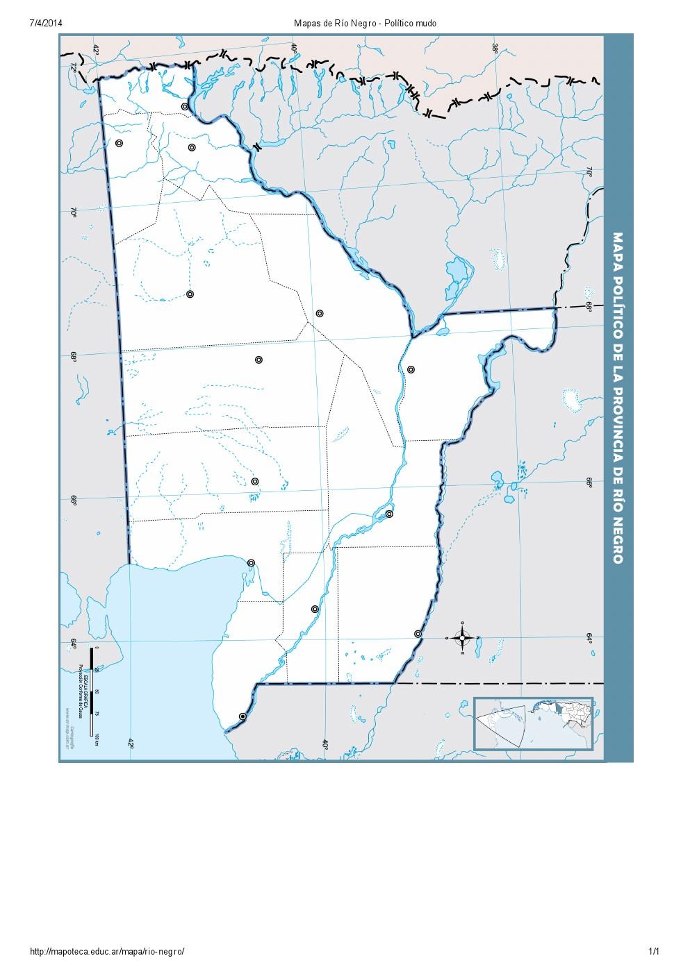 Mapa mudo de capitales de Río Negro. Mapoteca de Educ.ar
