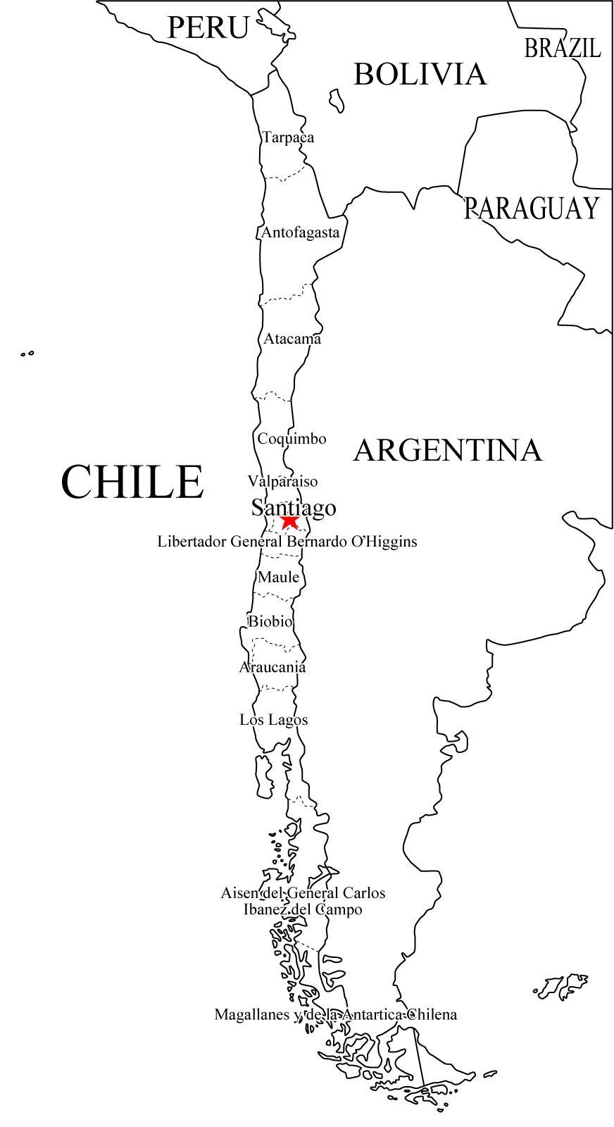 Mapa de regiones de Chile (1974-2007)