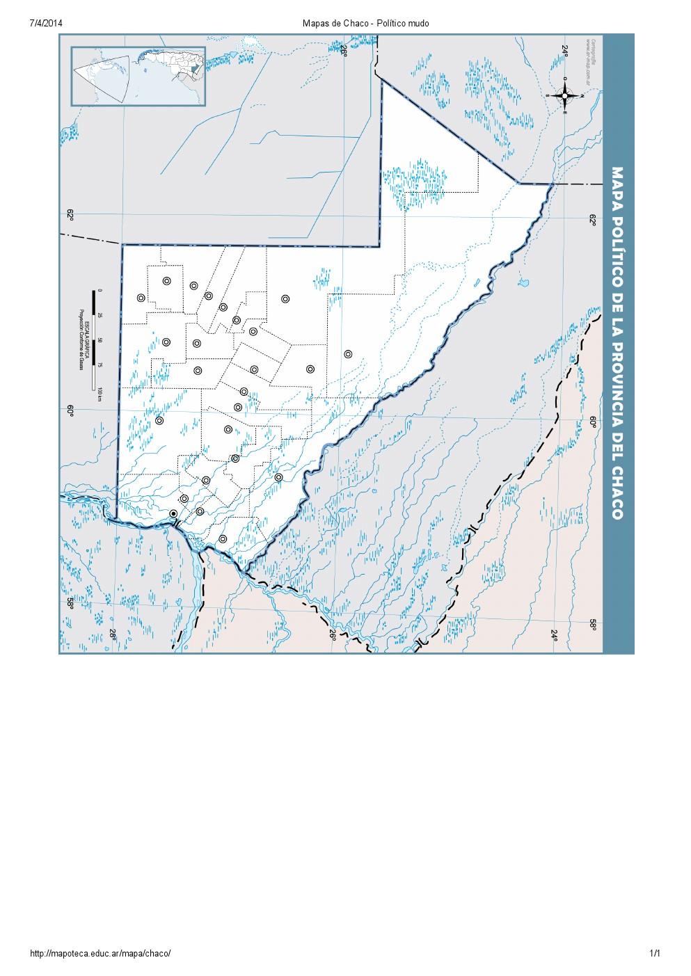 Mapa mudo de capitales del Chaco. Mapoteca de Educ.ar