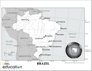 Mapa de ríos de Brasil. National Geographic