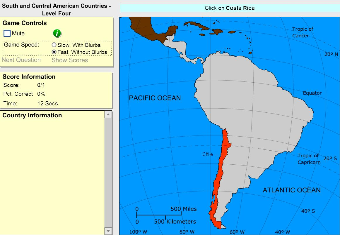 Countries of South and Central America. Advanced Intermediate. Sheppard Software