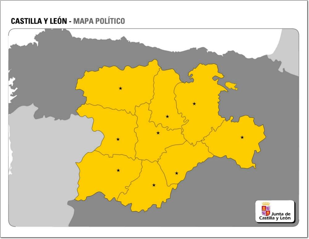 Mapa de provincias y capitales de Castilla y Léon. JCyL