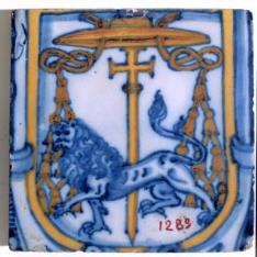 Azulejo con escudo abacial de la orden Jerónima