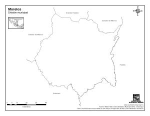 Mapa mudo de Morelos. INEGI de México
