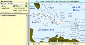 Capitals of the Caribbean. Intermediate. Sheppard Software