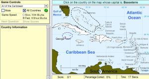 Capitals of the Caribbean. Intermediate. Sheppard Software