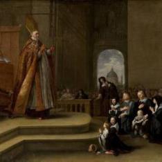 El obispo Rovenius bendiciendo a una familia (¿de Jacob van Wassenaer?)