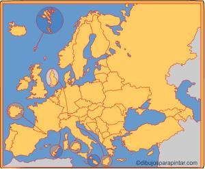 Países de Europa. Dibujos para pintar