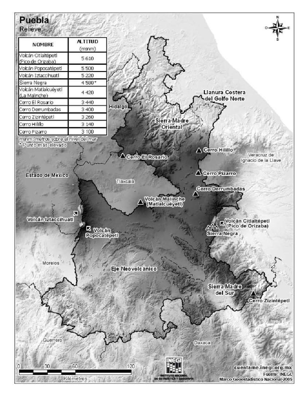 Mapa de montañas de Puebla. INEGI de México