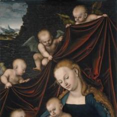 La Virgen con Niño, San Juan y ángeles