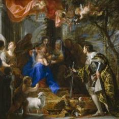 La Virgen con el Niño adorados por San Luis, rey de Francia
