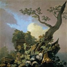 Bodegón de caza: aves y liebre