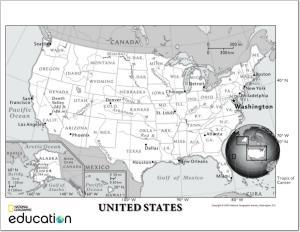 Mapa de estados, ciudades y ríos de Estados Unidos. National Geographic