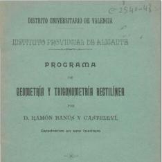 Programa de geometría y trigonometría rectilínea