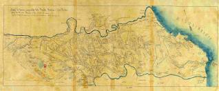 Mapa del terreno comprendido desde Besalú Bañolas y Costa Rocha entre los dos rios Fluviá y Ter hasta el mar