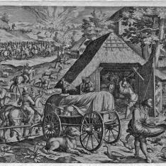 Soldados atacando a campesinos