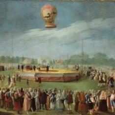 Elevación de un globo ante la Corte de Carlos IV
