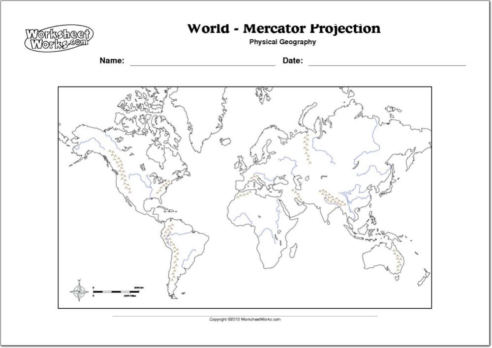 Mapa Rios Del Mundo.Mapa Fisico Mudo Del Mundo Mapa Mudo De Rios Y Montanas Del