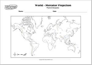 Mapa mudo de ríos y montañas del Mundo. WorksheetWorks