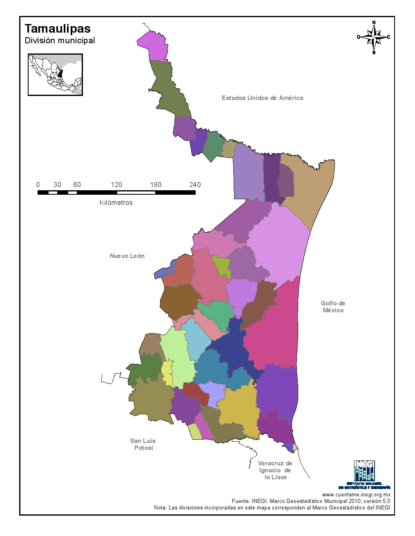 Mapa mudo de municipios de Tamaulipas. INEGI de México