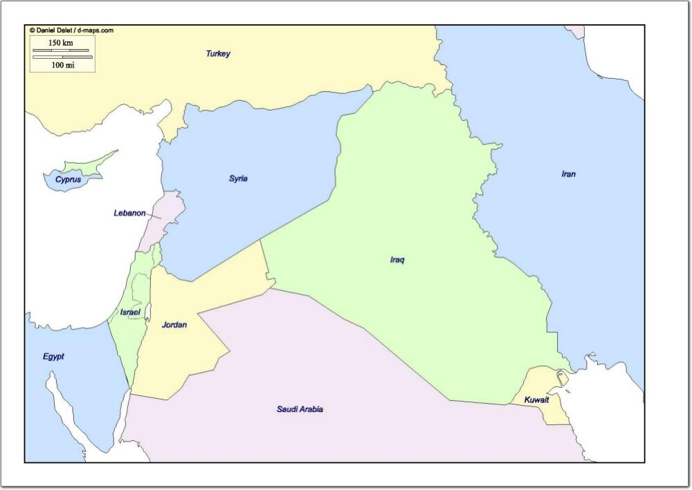 Mapa de países de Oriente Medio. d-maps