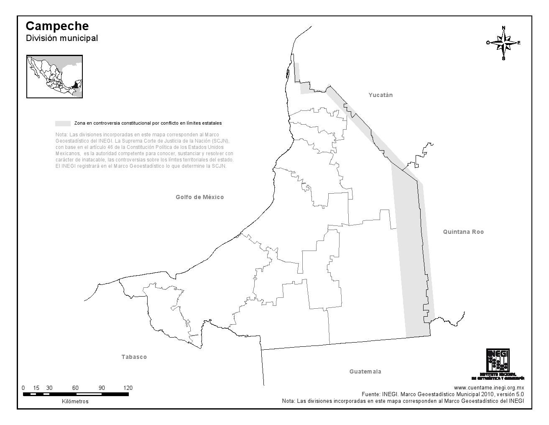 Mapa mudo de municipios de Campeche. INEGI de México
