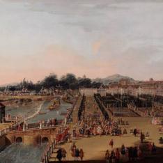 Fernando VI y Bárbara de Braganza en los jardines de Aranjuez