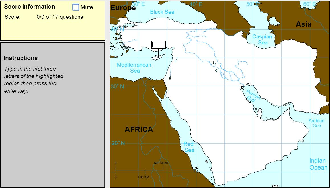 Countries of Middle East. Explorer. Sheppard Software