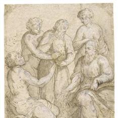 Cinco figuras contemplando la efigie de uno de ellos
