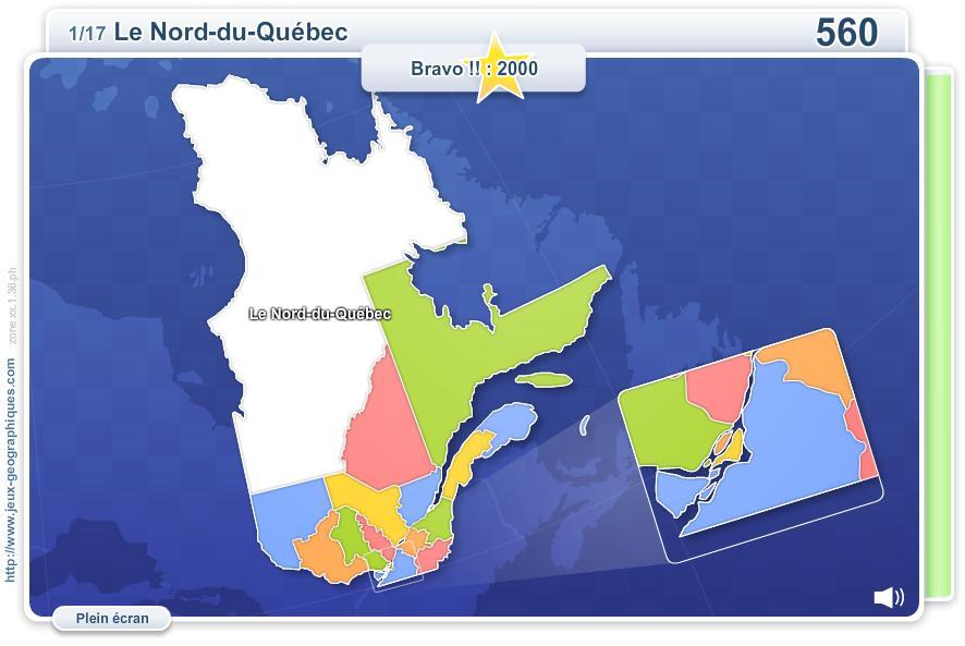 Régions du Québec. Jeux géographiques