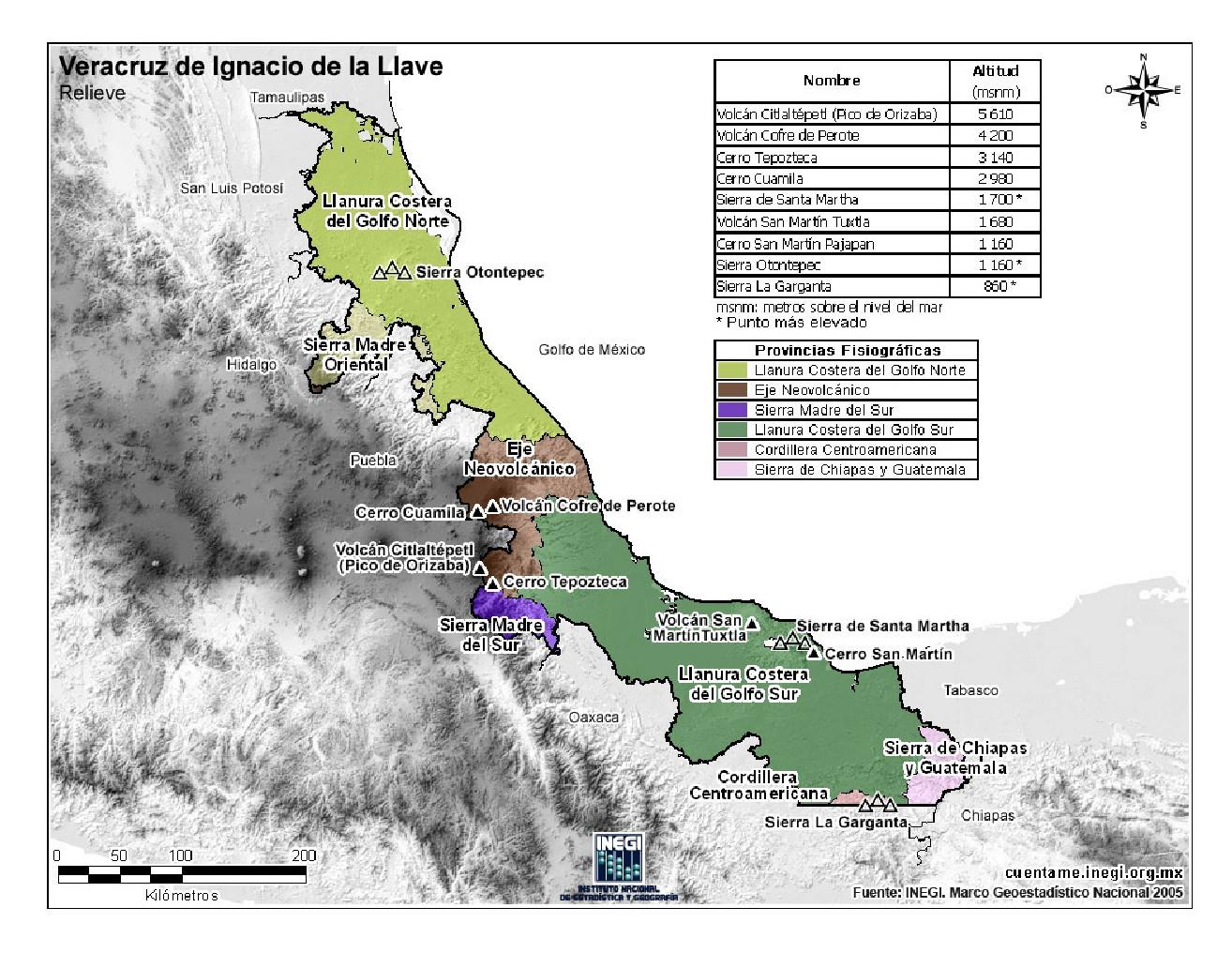 Mapa en color de montañas de Veracruz. INEGI de México