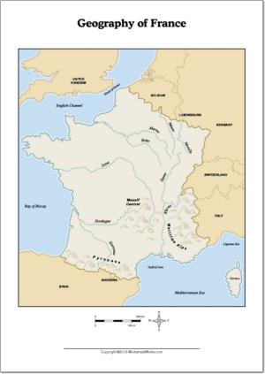 Mapa de ríos y montañas de Francia. WorksheetWorks