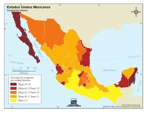 Mapa de inmigración de en México. INEGI de México