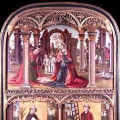Retablo del Nacimiento de Cristo con Santo Domingo y San Lorenzo