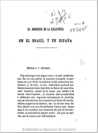 La abolición de la esclavitud en el Brasil y en España