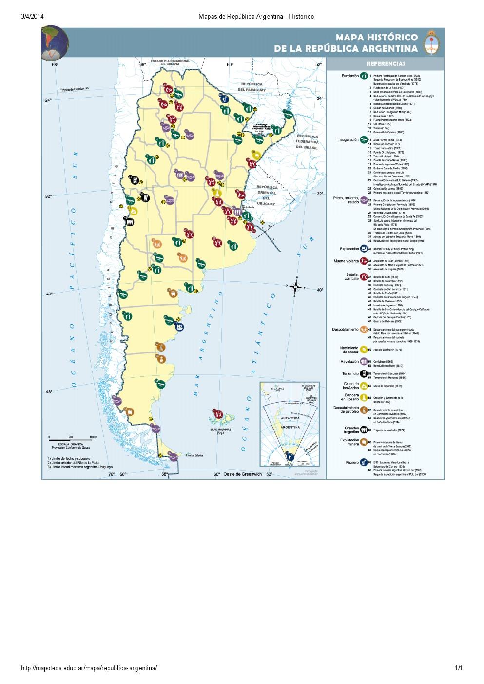 Mapa histórico de Argentina. Mapoteca de Educ.ar