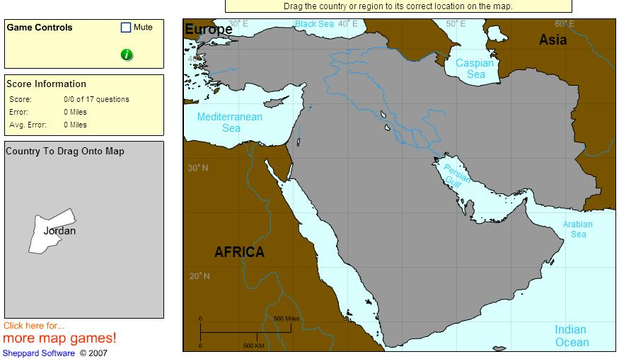Countries of Middle East. Intermediate. Sheppard Software
