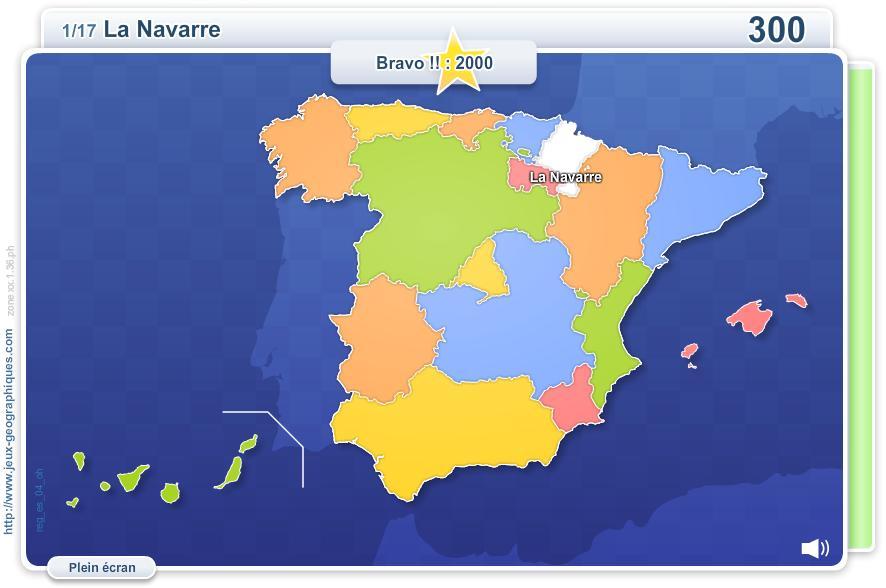 Communautés Autonomes d'Espagne. Jeux géographiques