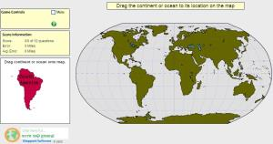 Continents and Oceans of the World. Intermediate. Sheppard Software