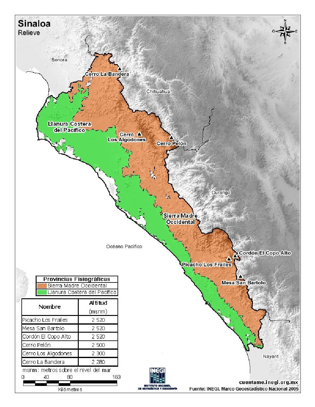 Mapa en color de montañas de Sinaloa. INEGI de México