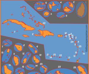 Capitales de países de las Antillas. Dibujos para Pintar
