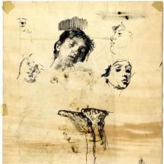 Boceto para El Padre Jofré protegiendo a un loco - Clotilde durmiendo